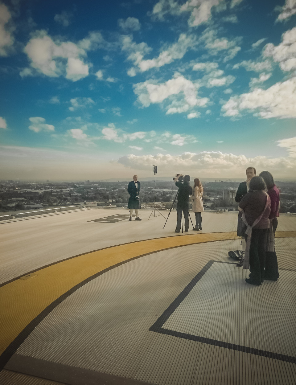 On top of the Queen Elizabeth Hospital Helipad for a film about Glasgow