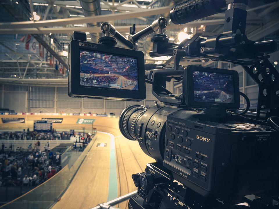 Preparing to get some slow motion film footage at the Chris Hoy Velodrome